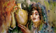 Water Jug Art - Girl with a Jug. by Faruk Koksal