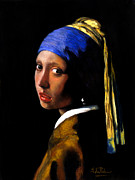 Girl With A Pearl Earring Prints - Girl with a pearl earring after Johannes Vermeer. Print by John  Palmer