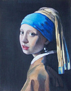 Copy Drawings Posters - Girl with a pearl earring after Vermeer Poster by Liam Harper