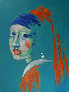 Sizes Painting Prints - Girl With A Pearl Earring - Blue Portrait Print by Carmen Tyrrell