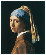 Portrait Of A Woman Posters - Girl with a Pearl Earring Poster by Jan Vemeer