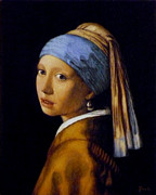 Girl With A Pearl Earring Paintings - Girl with a Pearl Earring by Jaro Zbijar