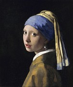Earring Painting Framed Prints - Girl with a Pearl Earring Framed Print by Johannes Vermeer