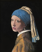 Girl With A Pearl Earring Paintings - Girl with a Pearl Earring by Paul Mudersbach