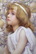 Pink Flower Branch Paintings - Girl with Apple Blossom by Henry Ryland