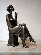 Nikola Litchkov Sculptures - Girl with bare breasts by Nikola Litchkov