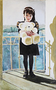 Iron  Pastels Posters - Girl with Bear Poster by Kathryn Donatelli
