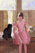 J Reifsnyder Prints - Girl with Black Cat Print by J Reifsnyder