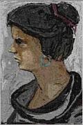 Girl With Blue Earrings Print by Pemaro