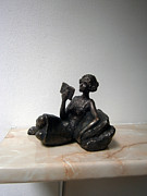 Girl Sculpture Originals - Girl with book by Nikola Litchkov