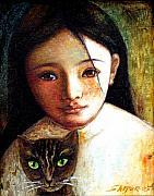 Cat Mixed Media Prints - Girl with Cat Print by Shijun Munns