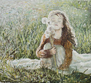 Eugene Maksim Prints - Girl with dandelions Print by Eugene Maksim