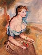 Cezanne Drawings Framed Prints - Girl with Dasies Framed Print by Eric  Schiabor