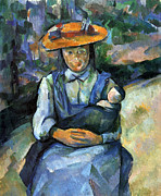 John Peter Posters - Girl with Doll by Cezanne Poster by John Peter