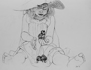 Children Sitting Drawings - Girl With Ducklings by Jani Freimann