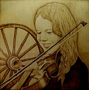 Wagon Pyrography Framed Prints - Girl With Fiddle Framed Print by Jo Schwartz