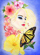 Composition Pastels - Girl With Flowers and Butterfly by Barbara Pelizzoli