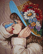 Hand Made Tapestries - Textiles - Girl With Flowers by Eugen Mihalascu