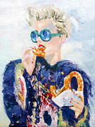 Eating Paintings - GIRL with GLASSES EATING PRETZEL - oil portrait by Fabrizio Cassetta