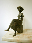Figurine Sculpture Framed Prints - Girl with hat Framed Print by Nikola Litchkov