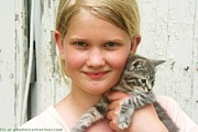 Kitten Prints Posters - Girl With Kitten Poster by PainterArtist FIN