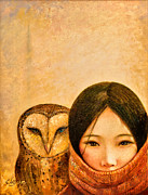 Tibetan Paintings - Girl with Owl by Shijun Munns