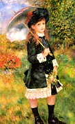 Little Girl Digital Art Prints - Girl With Parasol Print by Pierre-Auguste Renoir