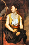 Red Skirt Prints - Girl With Parrot Print by Johann Canon