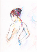 Coiffure Prints - Girl With Red Scarf Print by Jovica Kostic