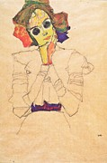 Schiele Drawings - Girl with Sun glasses by Pg Reproductions