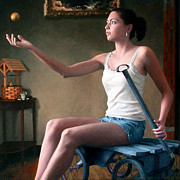 Ball Room Painting Metal Prints - Girl with the Golden Ball Metal Print by Charles Pompilius