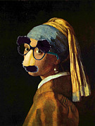 Fun Mixed Media Prints - Girl With The Pearl Earring and Groucho Glasses Print by Tony Rubino