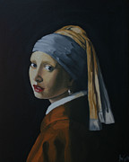 Pallet Drawings Framed Prints - Girl with the Pearl Earring Recreation Framed Print by Jason Welter