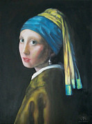 Girl With A Pearl Earring Paintings - Girl with the pearl earring reproduction by Dylan Williams