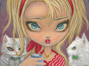 Gold Necklace Prints - Girl with Two Cats Print by Jacquelin Vanderwood
