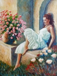 White Dress Painting Originals - Girl With White Dress by Santo De Vita