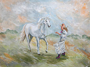 Cowgirl Prints Paintings - Girl with White Pony by Carole Powell