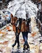 Rain Mixed Media Metal Prints - Girlfriends Metal Print by Emerico Toth