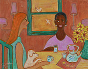 Chatting Painting Originals - Girlfriends Teatime by Xueling Zou