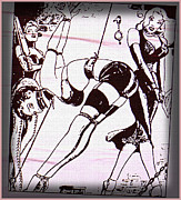 Berlin Drawings Metal Prints - Girls at play Metal Print by Gottfried In Berlin