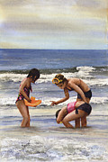 Children Playing Paintings - Girls At The Beach by Sam Sidders