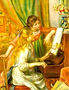 Girls Digital Art Prints - Girls At The Piano Print by Pierre-Auguste Renoir