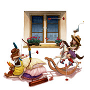 Isabella Kung Framed Prints - Girls Cowgirl VS Indian Framed Print by Isabella Kung