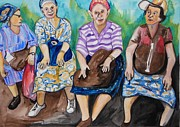 Fine Art  Of Women Paintings - Girls Day Out by Esther Newman-Cohen