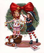 Isabella Kung Framed Prints - Girls Decorating for Christmas Framed Print by Isabella Kung