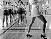 Recreation Building Prints - Girls In A Tap Dancing Class Print by Underwood Archives