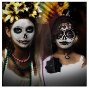Gary Warnimont Metal Prints - Girls in costume for Dia Los Muertos Metal Print by Gary Warnimont