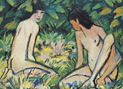 Shade Paintings - Girls in the Open Air by Otto Mueller or Muller