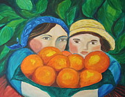 Girls In The Orange Grove Print by Teresa Hutto