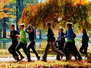 Jogging Art - Girls Jogging On an Autumn Day by Susan Savad